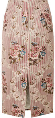 Brock Collection Sorrel Cotton And Silk-blend Jacquard Skirt - Blush