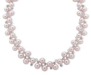 Anne Klein Imitation Pearl and Crystal Collar Necklace
