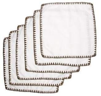 Kim Seybert Set of 12 Linen & Straw Dinner Napkins