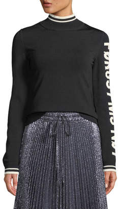 RED Valentino Graphic-Knit Turtleneck Sweater