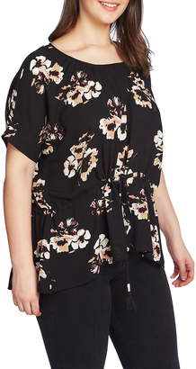 1 STATE 1.STATE Floral Print Cinched Waist High/Low Top