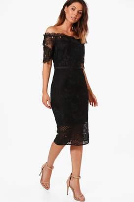 boohoo Boutique Off Shoulder Lace Midi Dress