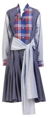Loewe Check & Stripe Shirt Dress