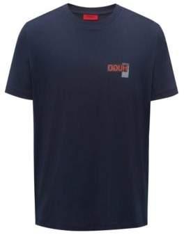 HUGO Boss Oversized-fit T-shirt reverse logo print S Dark Blue