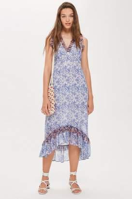 Topshop Ditsy Lace Trim Maxi Dress