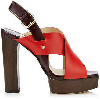 Jimmy Choo AIX/PF 125 Red Mix Vachetta Leather and Patent Strap Sandal
