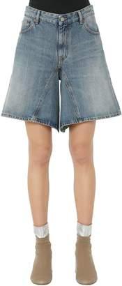 MM6 MAISON MARGIELA Dirty Wash Cotton Denim Wide Leg Shorts