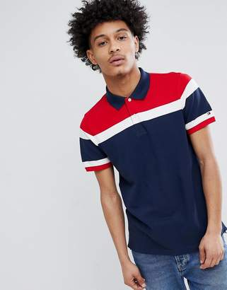 Tommy Hilfiger Racing Icon Stripe Pique Polo Slim Fit in Navy