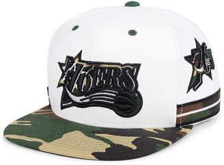 Mitchell & Ness Philadelphia 76ers Straight Fire Camo Hook Snapback Cap
