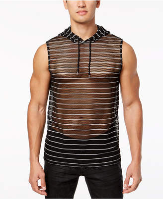INC International Concepts I.n.c. Men's Sheer Striped Hooded Tank