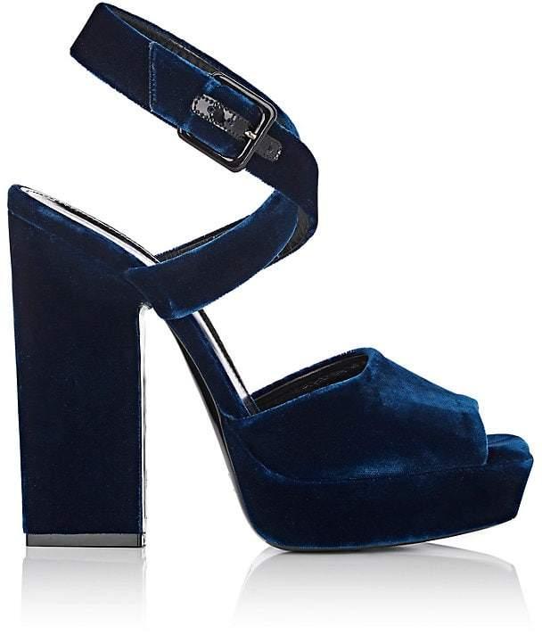 Saint Laurent Women's Debbie Velvet Platform Sandals