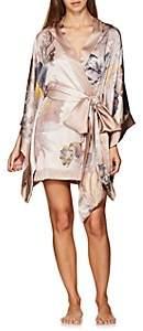 Carine Gilson Women's Floral Silk Short Robe - Light, Pastel pink