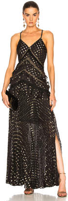 Self-Portrait Self Portrait Metallic Polka Dot Maxi Dress in Black | FWRD