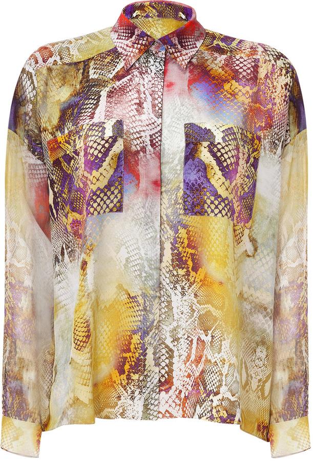 Faith Connexion Yellow Multi Snake Print Silk Shirt