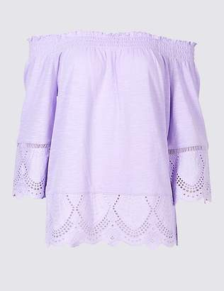 Marks and Spencer Pure Cotton Embroidered Bardot Top