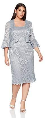 Alex Evenings Women's Plus Size Shift Bolero Jacket Dress with Bell Sleeves