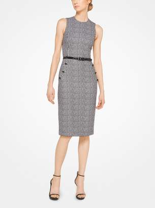 Michael Kors Houndstooth Wool Jacquard Sheath Dress