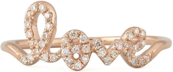Sydney Evan 14k Rose Gold Diamond Love Script Ring