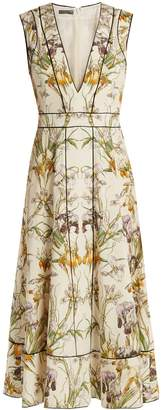 ALEXANDER MCQUEEN Wild Iris-print silk crepe de Chine midi dress