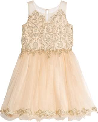 Blush by Us Angels Illusion Beaded Mesh Dress