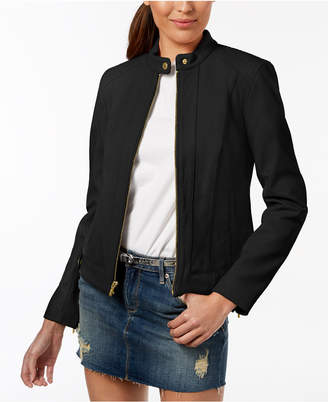 Cole Haan Plus Size Snap-Neck Leather Moto Jacket