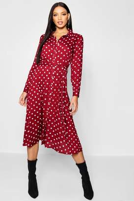 boohoo Woven Midi Shirt Dress Spot Print