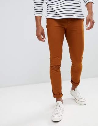 Celio Skinny Fit Chino In Rust