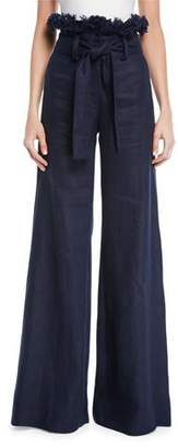 Alexis Sweeney Linen Wide-Leg Frayed Pants