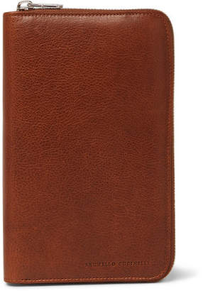 Brunello Cucinelli Burnished Full-Grain Leather Zip-Around Wallet