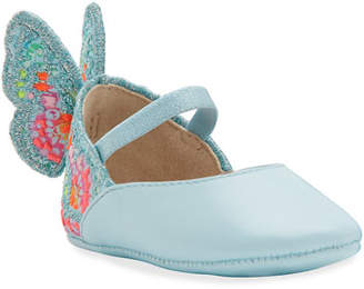 Sophia Webster Chiara Embroidered Butterfly-Wing Flats, Baby