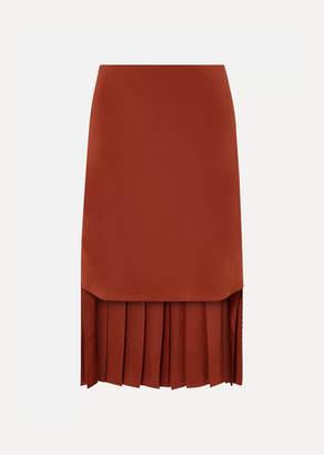 Chloé Asymmetric Pleated Silk-crepe Skirt - Brown