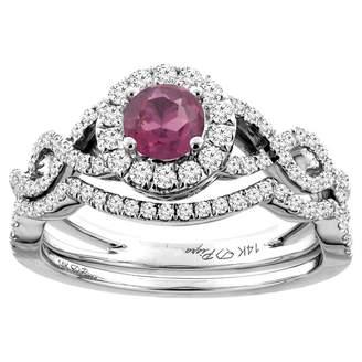 Sabrina Silver 14K White Gold Diamond Natural Rhodolite Halo Engagement Bridal Ring Set Round 5 mm, size 10