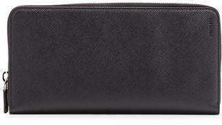 Prada Saffiano Leather Zip-Around Travel Wallet, Black $690 thestylecure.com
