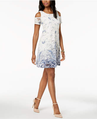 Robbie Bee Petite Cold-Shoulder Lace Dress