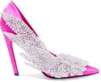 Balenciaga Talon Slash Sequin-embellished Satin Pumps - Fuchsia