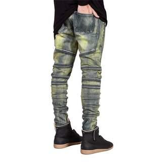 musiccrazyor Denim Trousers Elastic Jeans Trendy Designed Straight Slim Fit Jeans Pant