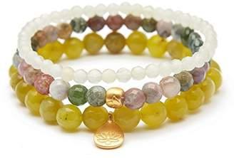 Satya Jewelry Women's Olive Jade Fancy Jasper New Jade Gold Lotus Stretch Bracelet Set