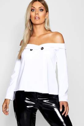boohoo Plus Button Detail Bardot Blazer