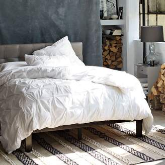 west elm Low Grid-Tufted Leather Bed - Elephant Gray