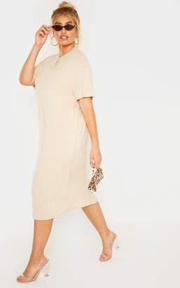 c56add0507c PrettyLittleThing Plus Stone Oversized Boxy Midi T-Shirt Dress