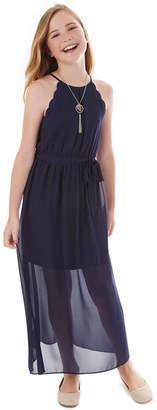 BCX Big Girls Scalloped Maxi Halter Dress