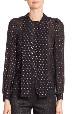 Michael Kors Collection Tie Neck Polka Dot Silk Blouse