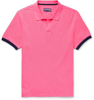 Vilebrequin Palatin Contrast-Tipped Cotton-Pique Polo Shirt - Men - Pink