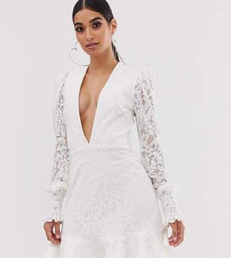John Zack Petite plunge front lace flippy mini dress in white