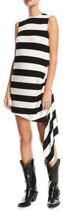 Calvin Klein Sleeveless Horizontal-Stripe A-Line Dress with Side Drape