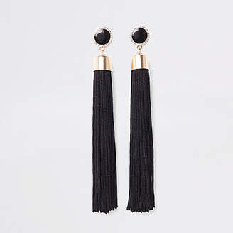 River Island Black tassel drop stud earrings