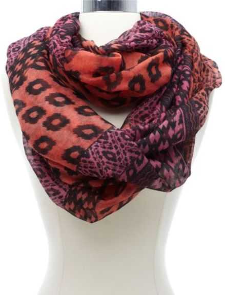 Charlotte Russe Mixed Ikat Animal Print Infinity Scarf