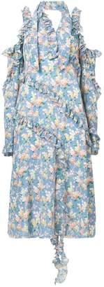 R 13 cold-shoulder floral print dress