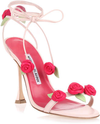 Manolo Blahnik Xafiore pink leather rose sandal