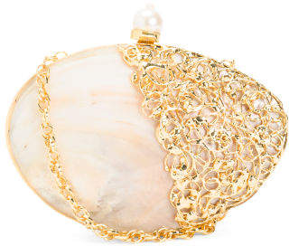 Handmade Boxed Mother Of Pearl Shell Clutch With Strap